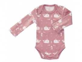 Romper LS Whale Mellow Rose